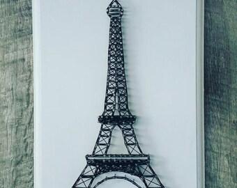 Eiffel Tower Custom String Art on Wooden Plaque, Paris, France, French theme