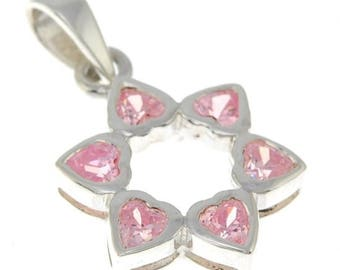 Star of David Pendant With Pink Gemstones + 925 Sterling Silver Necklace