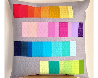 """Decorative pillow cover, free motion quilted pillow cover 20""""x20"""", patchwork pillow cover, patchwork cushion, modern patchwork pillow cover"""