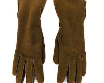 Vintage Ladies 40's 50's English Make Brown Leather Gloves