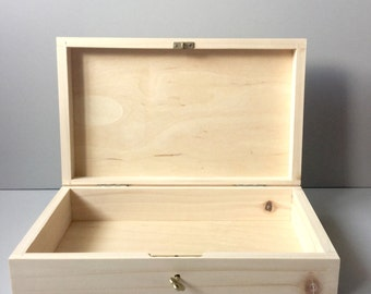 Wooden Box, Wood Box, Wooden Box With Key, Wooden Box With Lid, Gift Box,  Decoupage Box, Craft Box, Wood, Storage Box, Unfinished Wood Box