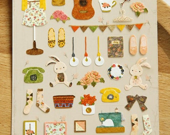 Mori Girl Stickers, Cute Stickers, Kawaii Sticker, Guitar Girl Sticker, Scrapbooking