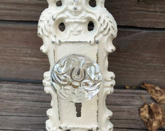 Wall Hook/ Wall Hanger/ Shabby Chic Off White Hook/ Door Knob Hook/ Curtain Tiebacks/ Home and Garden Decor