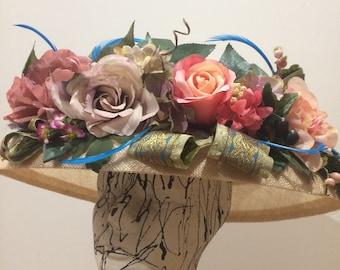 Cream Edwardian hat, Kentucky derby hat, Wedding Party hat, Royal Ascot hat, derby style hat, Tea Party hat, Victorian hat