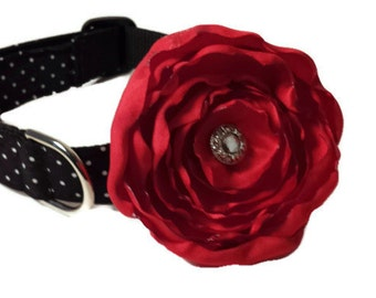 Polka Dot Dog Collar and  Flower Set, Black and White with Red Flower, Adjustable Sizes for Small to Extra Large Dogs Handmade