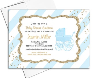 Boy baby shower invites printable | blue and gold baby shower invitation blue stripes and baby carriage | printable or printed - WLP00736