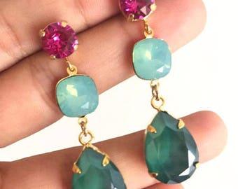 Mimi earrings blue and fuchsia