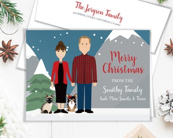 Family Portrait Holiday Card / Christmas Card Portrait, Cat and Dog Pet Portrait Illustration ▷ Printed Heavy Paper {or} Printable