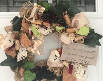 Wine Wreath, Burlap Wreath, Ruffle Wreath
