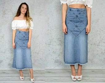 High waisted Skirt Jean maxi jeans frayed denim stitching vintage 90's Blue M Medium