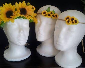 Sunflower Crowns - Mother Daughter -  flower headband  -  SunFlower Crown  - Photo Prop - Festival - Flower Crown-sunflower- Boho Headband