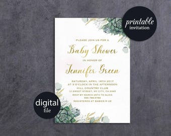 Succulent Baby Shower Invitation Floral Baby Shower Invitation Printable Baby Shower Invitation Green gender neutral baby shower invitation