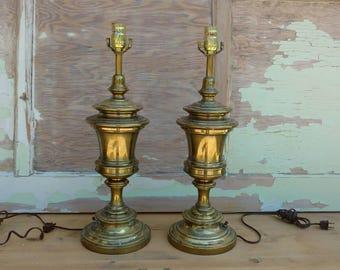 Elegant Vintage Brass Lamps, Brass Stiffel Lamps, Pair Vintage Brass Trophy Lamps  Found By Foo