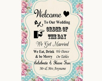 Vintage Shabby Chic Rose Welcome Order Of The Day Personalised Wedding Sign