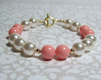 Pink and White Pearl Bracelet. 14K Gold Filled Swarovski Pearl Bracelet. Dressy. Career. Bridal. Pink and White Wedding.