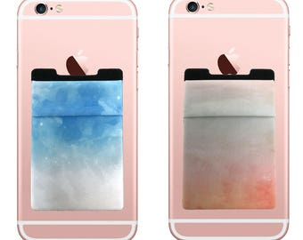 Two Stretchy Cell Phone Stick On Wallet Card Holder Phone Pocket For iPhone, Android and all smartphones. (Watercolor)