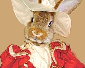 Rabbit Print, Rabbit Art Print, Rabbit Bunny Print, Rabbit Art, Bunny Print, Rabbit Wall Art, 8x10,Brown, Wall Decor, Women, Art Print