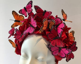 Butterfly Headpiece- Red Fascinator Hat -Butterfly Fascinator- Butterfly costume- Derby- Spring Fascinator- Derby Hat- Tea Party Hat