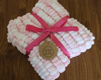 White and Baby Pink Rico Pompom Baby Car Seat Blanket
