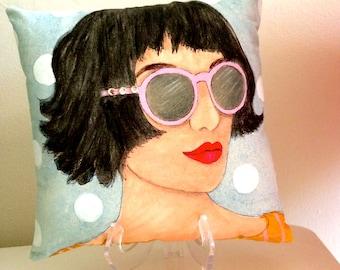 SUMMER LADY PILLOW, hand painted pillow, pink rhinestone sunglasses, Paris woman, decorative pillow, grey blue pillow, French woman pillow