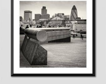 London Photograph Black & White Fine Art Giclee Print - North View over The Thames