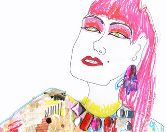 ZANDRA RHODES Drawing Print / Portrait/ mixed media / advanced style / fashion / Woman /  size a3 & ORIGINAL