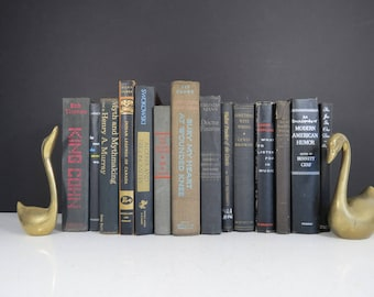 Black and Charcoal Book Set // Vintage Modern Hardcover Books Instant Collection Library Shelf Fillers Wedding Centerpiece Photography Props