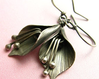 Sterling Silver Lily Earrings, Artisan Metalsmith Earrings, Modern Metal Flower Jewelry, Contemporary Earrings, Silversmith Flower Earrings