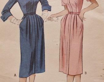 Butterick 5877 1950s Zip Front Dress Pattern UNCUT, Vintage Sewing Bust 30