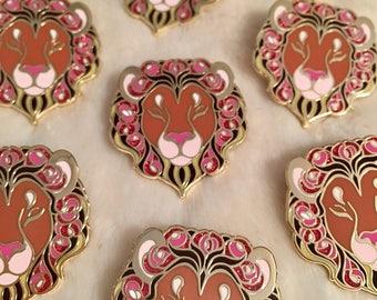 Floral Lion Hard Enamel Pin