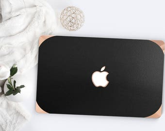 Macbook Pro 13 Case Macbook Air Case Laptop Case Macbook Case . Black Leather  Case with Rose Gold Chrome . Hard Case