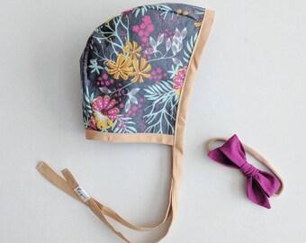 Jewel Tone Botanical Baby Bonnet   Baby Girl, Handmade, Classic, Modern, Reversible, Vintage