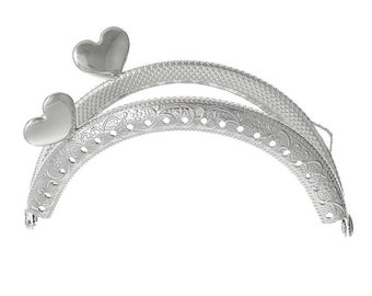 x 1 lock claps semicircle heart motif purse/wallet/hand bag sewing silver 8.8 x 5.5 cm