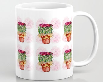 Mug, Pots of Dried Roses on a background of Watercolor Roses, 11 oz and 15 oz