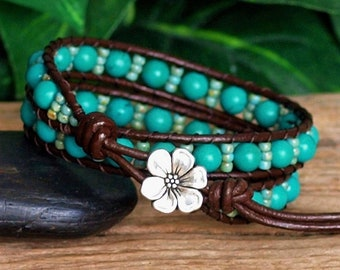 Blue Green Seed Bead and Stone Beaded Leather Double Wrap Bracelet, Turquoise Howlite Bracelet, Bohemian Jewelry, Gift For Her