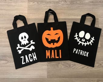 Personalised Halloween Bags, canvas bags with pumpkins and skulls