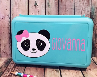 Panda Pencil Box - Personalized Pencil Box - School Supply Box - Crayon Box - Art Supply Box - Pencil Case - School Supplies - Panda Art Box