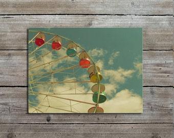 Ferris Wheel Photograph, Carnival Photography, Fair, Nursery Decor, Retro Art Print
