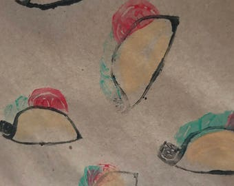 Taco Stamped Wrapping Paper Sheets