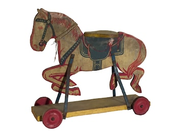 Painted Wood Riding Horse Push Toy