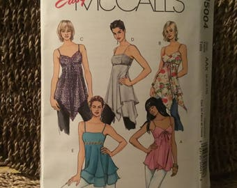 2005 McCalls Easy pattern M5004- sizes 12-18-uncut-unfolded-Misses lined tops and tunics - five to chose from, time to sew for summer