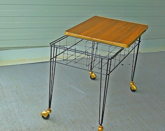 vintage bar cart trolley mid century modern wood, iron and brass serving cart hollywood regency tea cart 1970s