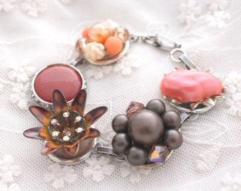 Recycled Bracelet, Flower Jewelry, Brown Coral Bracelet, Upcycled Recycled Repurposed, Pantone Marsala, Sorority Gift, Eco Friendly Jewelry