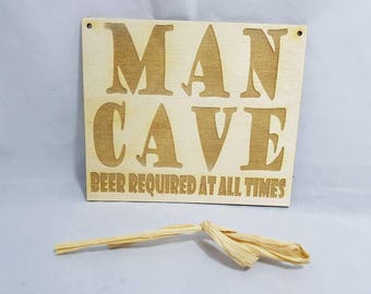 """Man cave natural birch wood ply hanging wall shed garage sign plaque. """"Beer required at all times"""