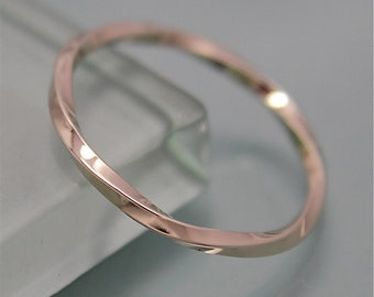Slightly Twisted Solid 14k Gold 1.25mm Square Band White Gold Rose Gold Yellow Gold Stacking Wedding Ring