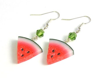 Watermelon Earrings - Polymer clay jewelry - watermelon slices - Red earrings - Juicy jewellery - slices of watermelon