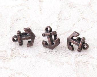 anchor buttons 10pcs 9*6.5*7mm metal buttons vintage tiny buttons copper buttons navy buttons