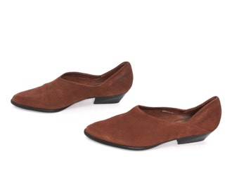 size 6 CHELSEA brown leather 80s 90s WESTERN MINIMAL slip on ankle boots