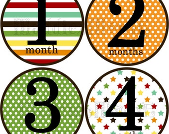 Monthly Baby Stickers Baby Boy Month Stickers Milestone Stickers Monthly Photo Stickers Bodysuit Stickers Baby Shower Gift (Chris)