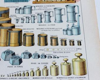 Format A4 1922 système métrique règle poids de pièce mesurant Litho Print Français Larousse B3486